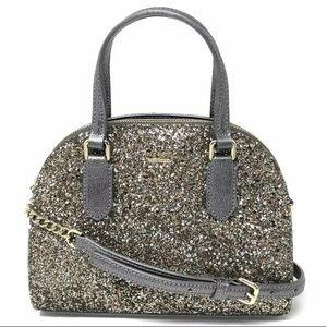 Kate spade mini Reiley gunmetal satchel glitter